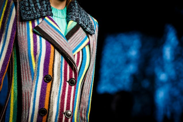 An example of Missoni's playfully urban yet comfortably knit aesthetic at Milan Fashion Week Fall/Winter 2016/17