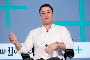 Stewart Butterfield, CEO of Slack, speaks onstage at The New York Times New Work Summit on March 1, 2016.