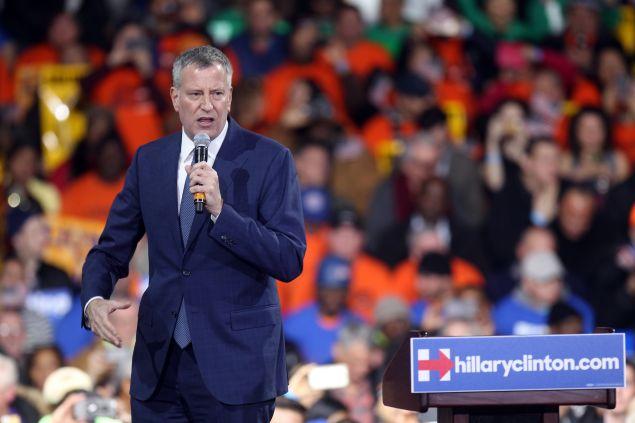 Mayor Bill de Blasio at a rally for Hillary Clinton last month.