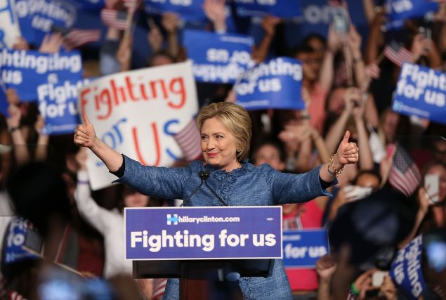 Democratic presidential candidate former Secretary of State Hillary Clinton speaks to her supporters during her Primary Night Event at the Palm Beach County Convention Center on March 15, 2016 in West Palm Beach, Florida. (Photo: Joe Raedle/Getty Images)