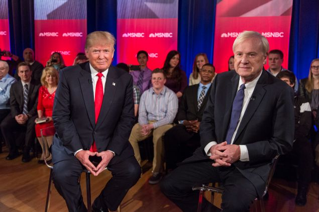 Republican Presidential candidate Donald Trump films a town hall meeting for MSNBC with Chris Matthews at the Weidner Center located on the University of Wisconsin Green Bay campus on March 30, 2016 in Green Bay, Wisconsin. Candidates are campaigning ahead of the Wisconsin primary on April 5.
