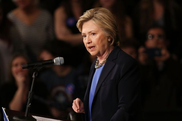 Democratic presidential candidate Hillary Clinton speaks at SUNY Purchase on March 31, 2016 in Purchase, New York. Clinton gave a speech to both students and supporters that covered a host of domestic and international issues. New York will hold its primaries on April 19.