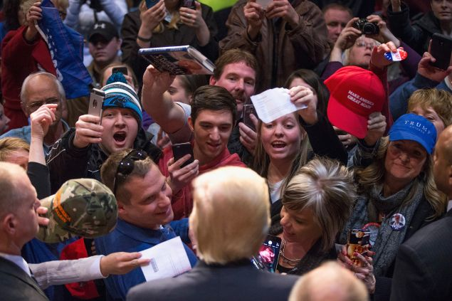 Republican presidential candidate Donald Trump greets guests during a campaign stop at Memorial High School on April 2, 2016 in Eau Claire, Wisconsin. Wisconsin voters go to the polls for the state's primary on April 5.