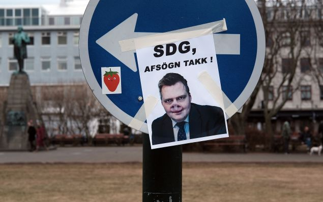 A poster near the Icelandic Parliament building in downtown Reykjavik mocks former Prime Minister Sigmundur David Gunnlaugsson following the Panama Papers leak.