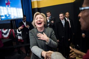 Hillary Clinton at Medgar Evers College today.