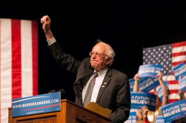 Democratic presidential candidate Sen. Bernie Sanders (D-VT) speaks during a rally on April 5, 2016 in Laramie, Wyoming. Sanders spoke to a large crowd on the University of Wyoming campus after winning the primary in Wisconsin.