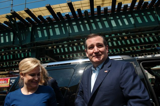Heidi Cruz and her husband, Texas Sen. Ted Cruz, campaign in New York.