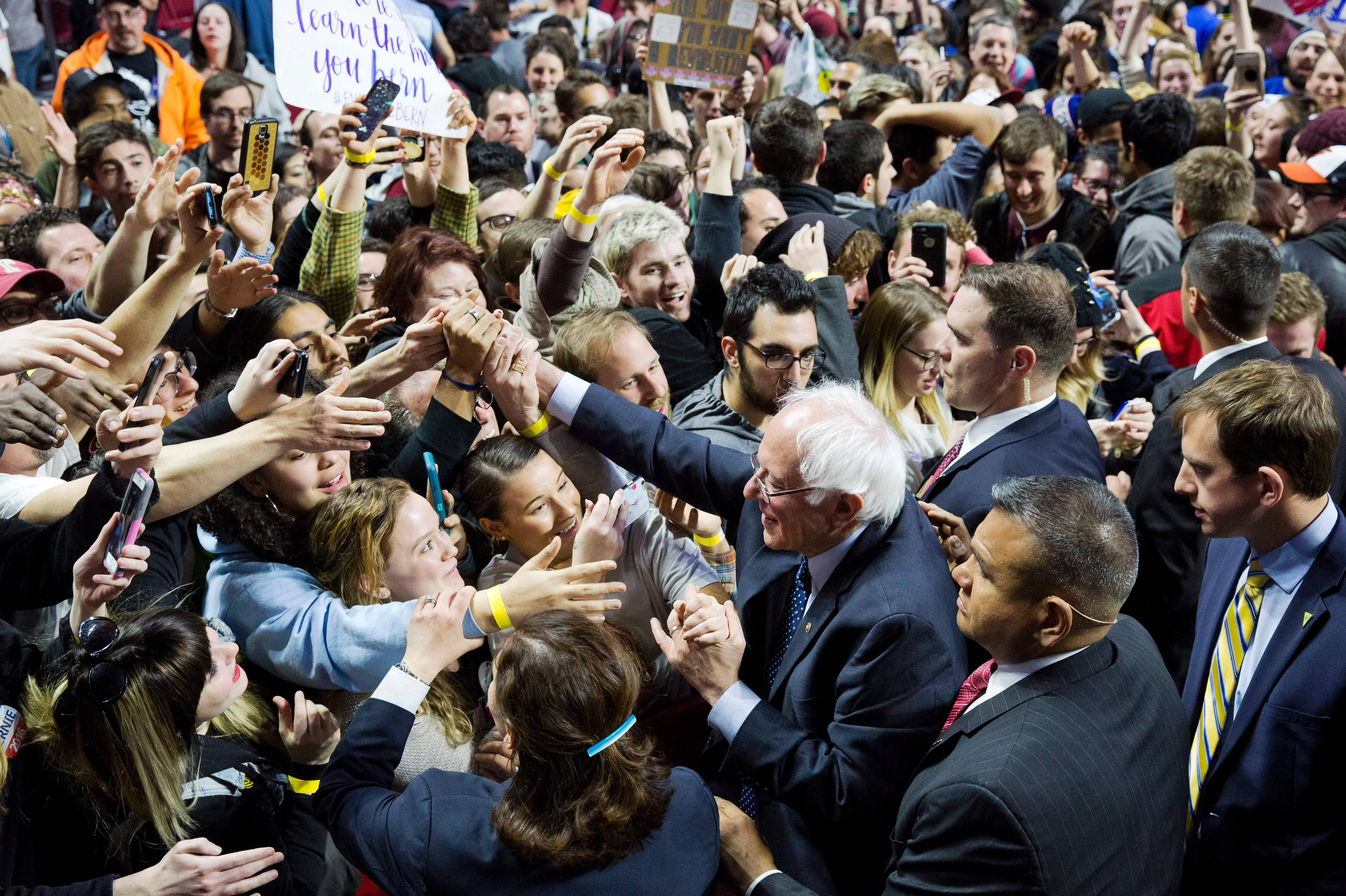 Bernie Sanders greets supporters at a rally at Temple University in Philadelphia on April 6.