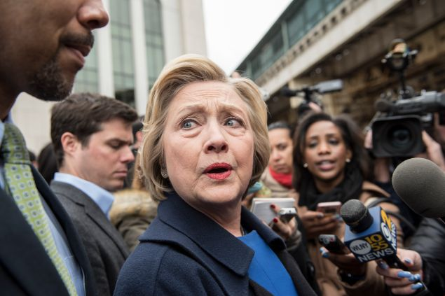 NEW YORK, NEW YORK - APRIL 07: Democratic presidential candidate Hillary Clinton campaigns outside of Yankee Stadium on April 7, 2016 in the Bronx borough of New York City. The former U.S. secretary of state first spoke outside of Yankee Stadium before riding the subway from the 161st Street station to the 170th Street station. (Photo by Andrew Renneisen/Getty Images)