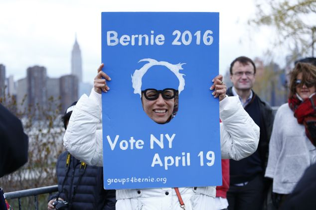An enthusiastic Sanders supporter feels the Bern prior to a Sanders rally in New York on April 8.