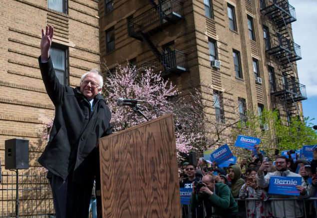 Sen. Bernie Sanders holds a rally outside his childhood home in Flatbush, Brooklyn, on April 8.