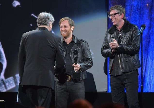 Dan Auerbach (C) and Patrick Carney of The Black Keys induct Steve Miller at the 31st Annual Rock And Roll Hall Of Fame Induction Ceremony at Barclays Center of Brooklyn on April 8, 2016 in New York City.