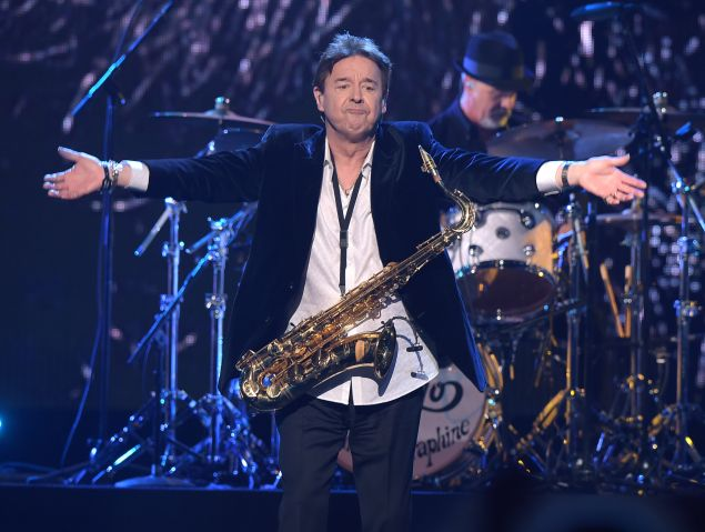 Inductee Walter Parazaider of Chicago performs at the 31st Annual Rock And Roll Hall Of Fame Induction Ceremony at Barclays Center on April 8, 2016 in New York City.