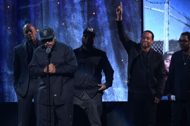NEW YORK, NEW YORK - APRIL 08: Ice Cube speaks on stage at the 31st Annual Rock And Roll Hall Of Fame Induction Ceremony at Barclays Center on April 8, 2016 in New York City.