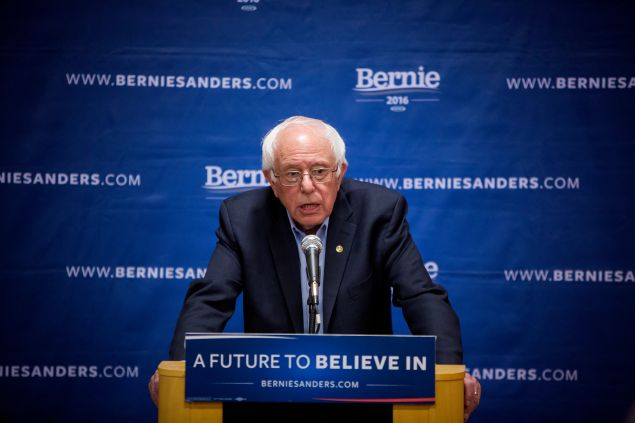 Democratic presidential candidate Sen. Bernie Sanders (D-VT) holds a news conference after a campaign event at the âLaGuardia Performing Arts Center in the Queens borough of New York City April 9, 2016. The New York Democratic primary is scheduled for April 19th.
