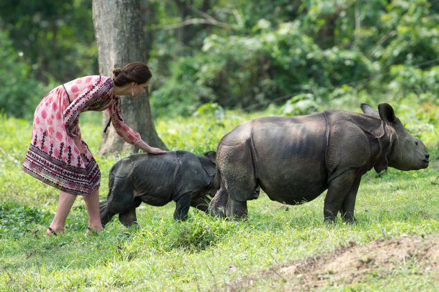 Catherine, Duchess of Cambridge visits the Centre for Wildlife Rehabilitation and Conservation, at Kaziranga National Park on April 13, 2016 in Guwahati, India. The Duke and Duchess of Cambridge are on a week-long tour of India and Bhutan taking in Mumbai, Delhi, Assam, Bhutan and Agra.