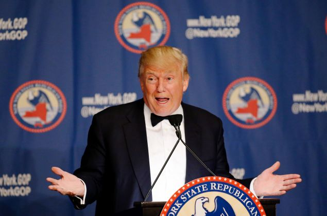 Republican presidential candidate Donald Trump speaks the 2016 annual New York State Republican Gala in April.