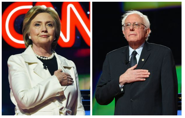 This two-picture combination shows US Democratic presidential candidates Hillary Clinton (L) and Bernie Sanders before the CNN Democratic Presidential Debate at the Brooklyn Navy Yard on April 14, 2016 in New York. Hillary Clinton and Bernie Sanders take their increasingly acrimonious battle for the Democratic White House nomination to a debate stage in Brooklyn on Thursday ahead of the key New York primary. / AFP / Jewel SAMAD