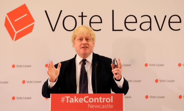London Mayor Boris Johnson speaks at a 'Vote Leave' rally in Newcastle upon Tyne, England, on April 16.