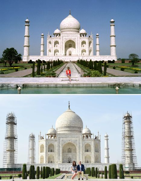 (FILES) This combination photograph shows (TOP) Princess Diana of Wales as she poses at The Taj Mahal in Agra on February 11, 1992, and (BOTTOM) Britain's Prince William, Duke of Cambridge(R)and Catherine, Duchess of Cambridge as they pose during their visit to The Taj Mahal in Agra on April 16, 2016. Prince William and his wife Catherine arrived at the Taj Mahal, wrapping up their week-long trip to India and Bhutan with a visit that carries poignant echoes for Britain's royal family. /
