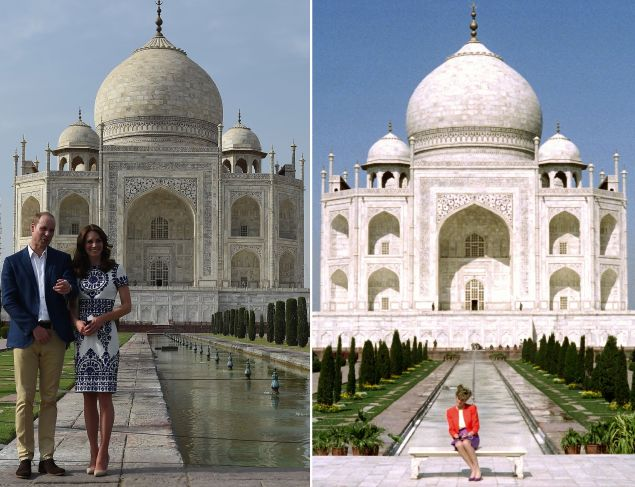 (FILES) This combination photograph shows (RIGHT) Princess Diana of Wales as she poses at The Taj Mahal in Agra on February 11, 1992, and (LEFT) Britain's Prince William, Duke of Cambridge(L)and Catherine, Duchess of Cambridge as they pose during their visit to The Taj Mahal in Agra on April 16, 2016. Prince William and his wife Catherine arrived at the Taj Mahal, wrapping up their week-long trip to India and Bhutan with a visit that carries poignant echoes for Britain's royal family. / AFP / Douglas CURRAN AND Prakash SINGH