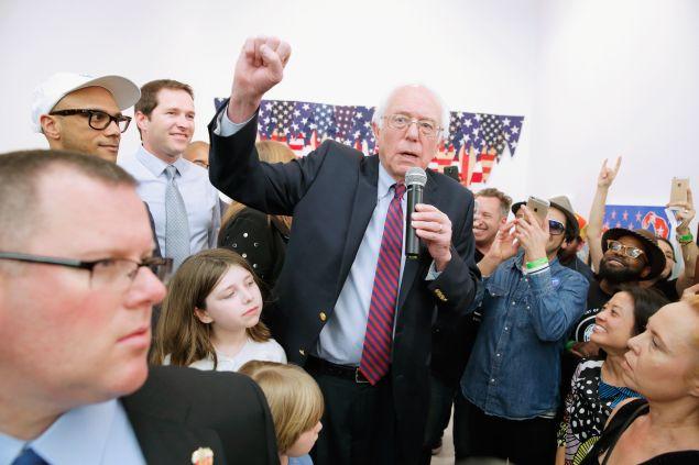 Mr. Sanders addressing the crowd.