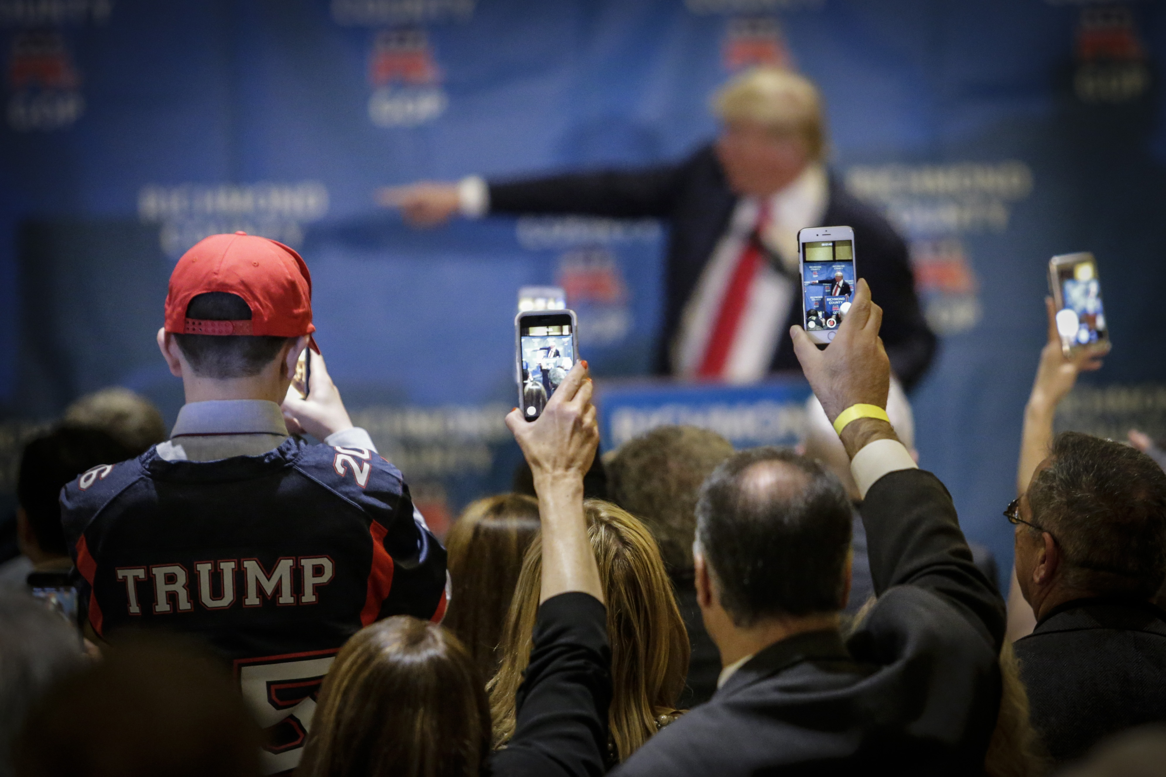 Republican presidential candidate Donald Trump speaks during the Republican Party's annual Lincoln Day Brunch in Staten Island, New York.
