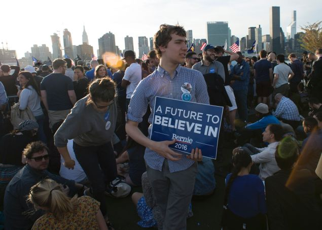 A crowd awaits Bernie Sanders' arrival at a campaign rally in New York on April 18.