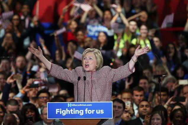 Hillary Clinton celebrating her win Tuesday night.