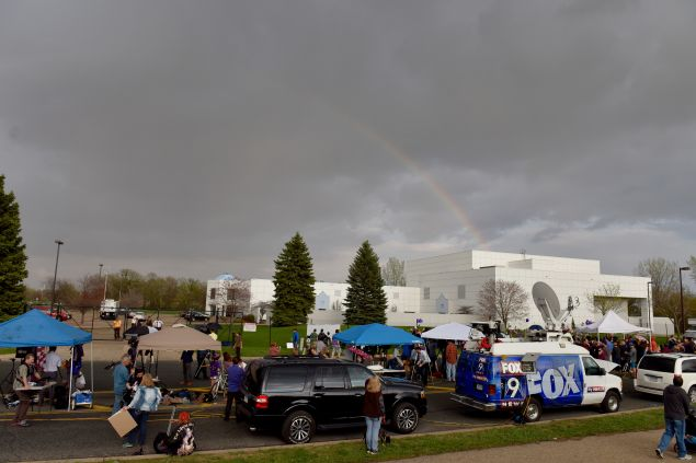 A rainbow appeared over Prince's Paisley Park home as fans gathered to pay respect.
