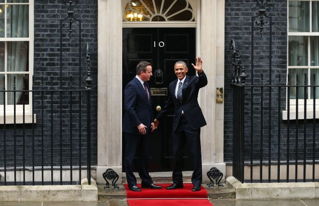 President Obama arrives at Downing Street to meet with British Prime Minister David Cameron on Friday, April 22.