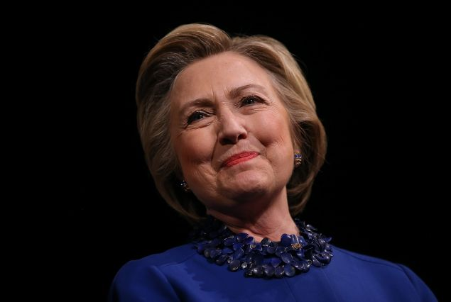 Democratic presidential candidate former Secretary of State Hillary Clinton looks on during a Get Out the Vote rally at World Cafe Live at the Queen on April 25, 2016 in Wilmington, Delaware. Hillary Clinton is campaigning in Deleware and Pennsylvania ahead of Tuesday's presidential primaries.