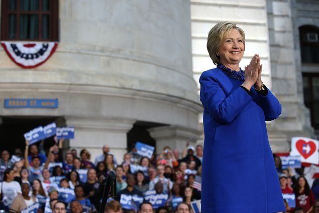 Democratic presidential candidate former Secretary of State Hillary Clinton greets supporters during a Get Out the Vote rally at Philadelphia City Hall on April 25, 2016 in Philadelphia, Pennsylvania. Hillary Clinton is campaigning in Deleware and Pennsylvania ahead of Tuesday's presidential primaries.