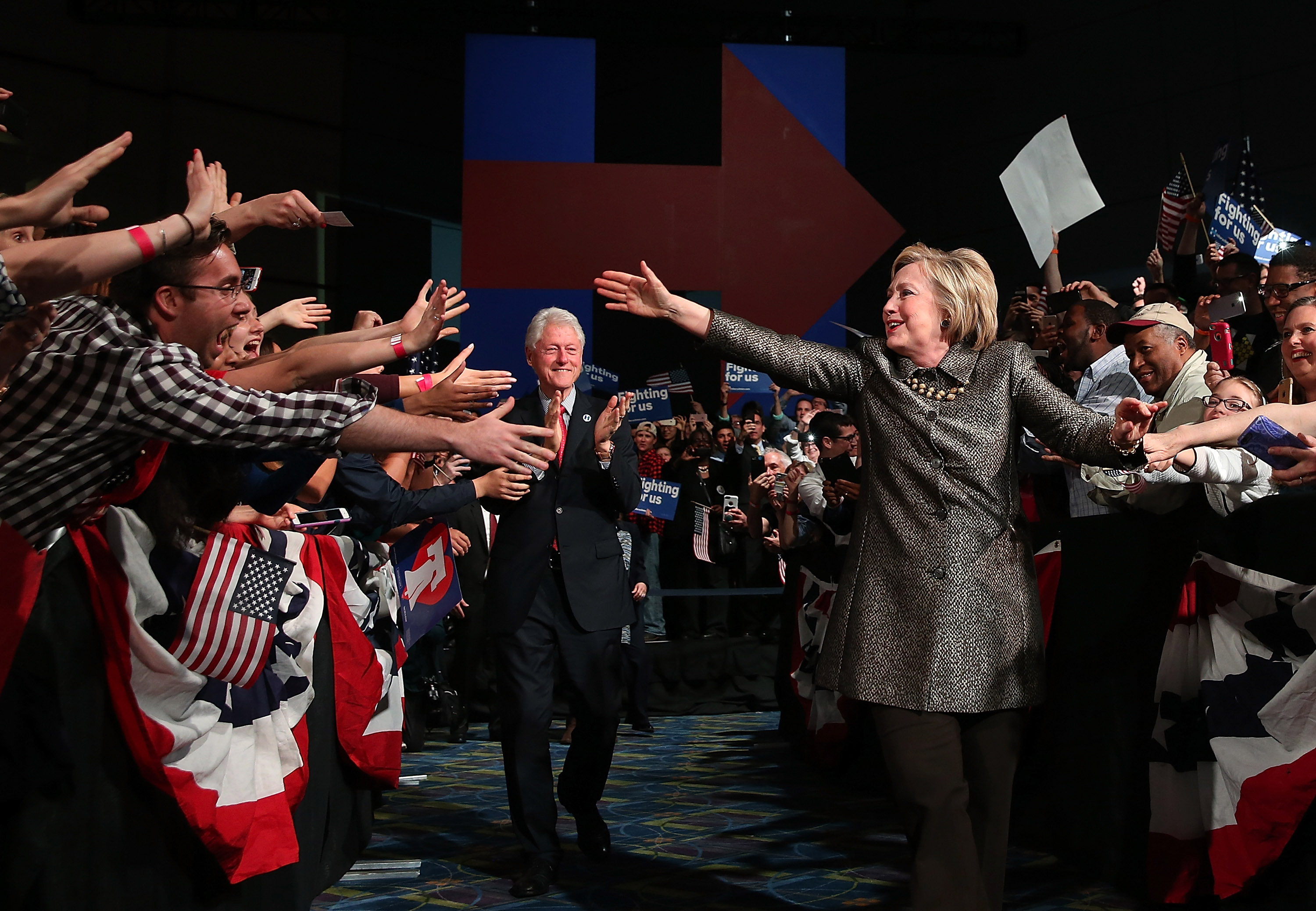 Democratic presidential candidate Hillary Clinton and former U.S. president Bill Clinton greet supporters during a primary night gathering at the Philadelphia Convention Center on April 26, 2016 in Philadelphia, Pennsylvania. Clinton defeated her democratic rival Sen. Bernie Sanders (D-VT) in the Pennsylvania presidential primary.