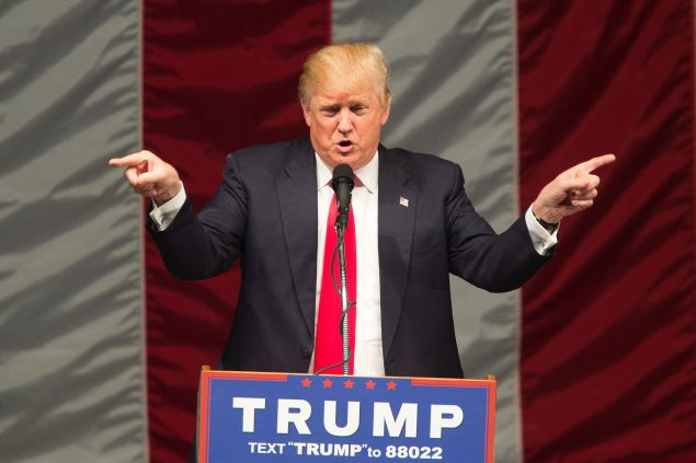 Republican presidential candidate Donald Trump speaks during a campaign rally at the Orange County Fair and Event Center, April 28, 2016, in Costa Mesa, California.