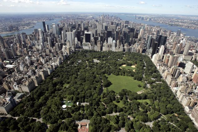 Aerial view of Manhattan looking south over Central Park 01 July 2007 in New York City.