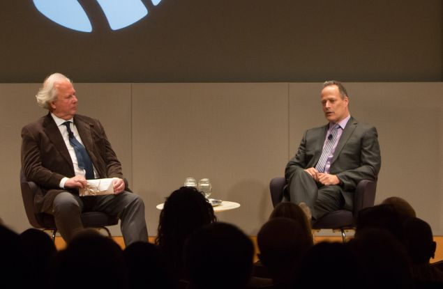 Graydon Carter (left) in conversation with Sebatian Junger at The New York Public Library.