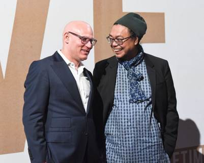 Craig Robins & Rirkrit Tiravanija at the Creative Time 2016 Spring Gala presented by Bombay Sapphire Gin.