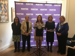 Congresswoman Carolyn Maloney, Hunter College President Jennifer Raab and others at the Roosevelt House Public Policy Institute. (Photo credit: Janaki Chadha)