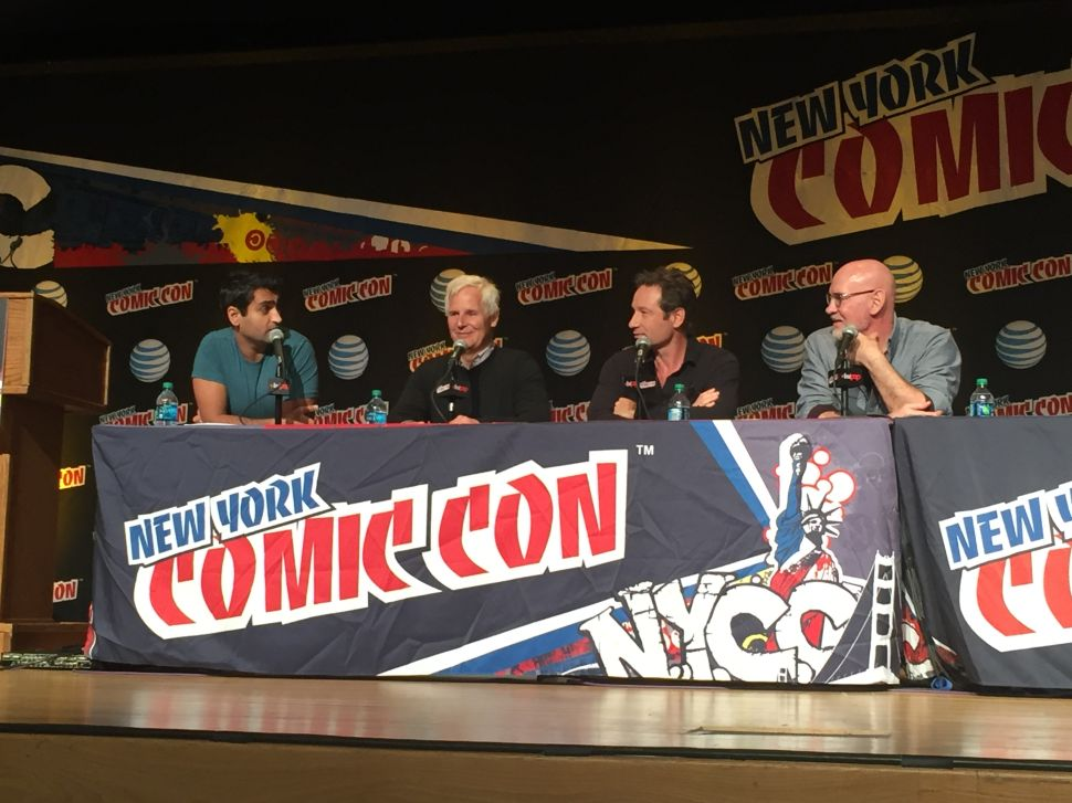 The New York Comic-Con at The Jacob K. Javits Convention Center on October 10, 2015 featured Moderator Kumail Nanjian, with X Files creator Chris Carter and stars David Duchovny and Mitch Pileggi