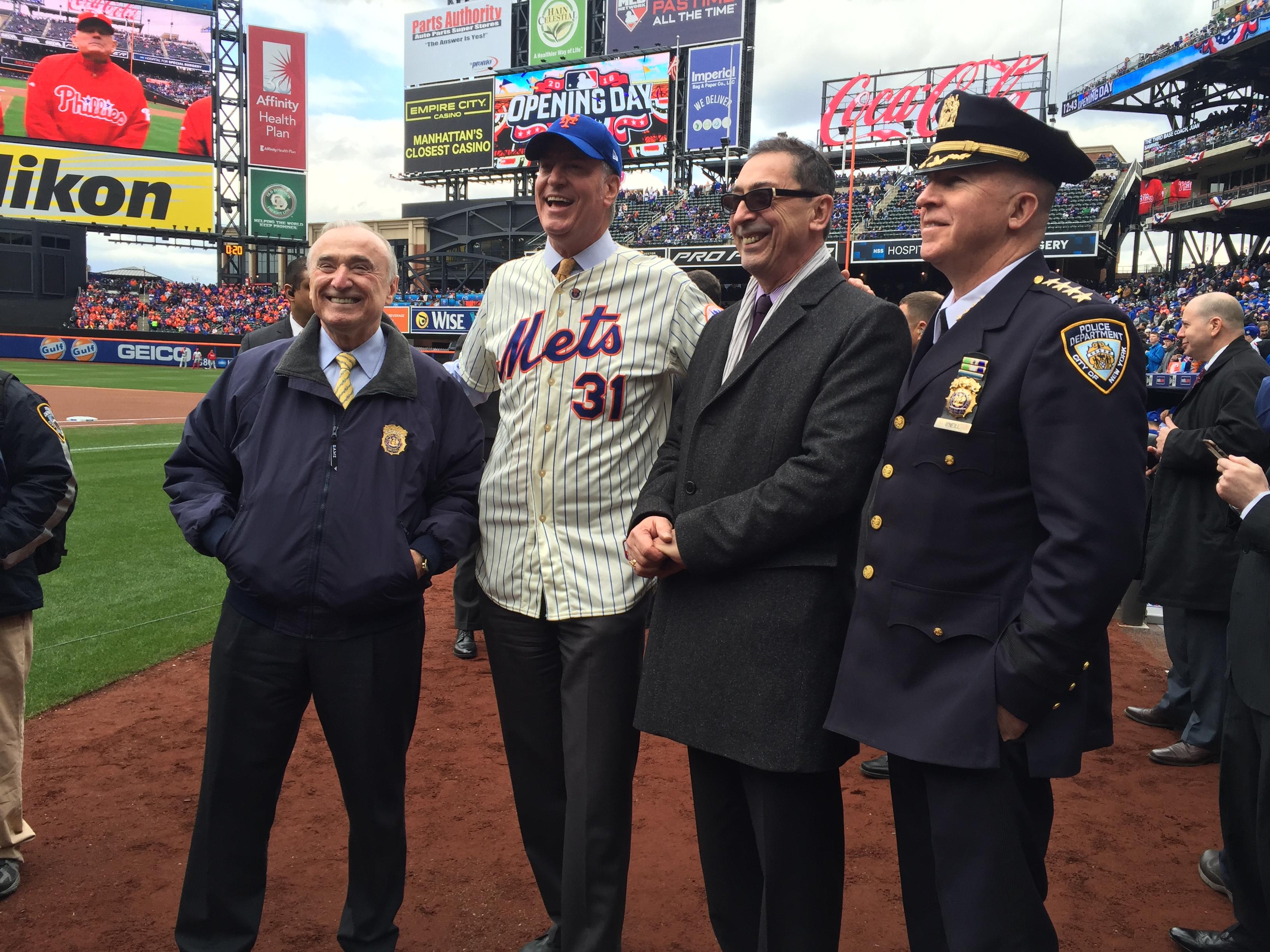 Police Commissioner Bill Bratton, Mayor Bill de Blasio, Fire Commissioner Daniel Nigro, and Chief of Department James O'Neill.