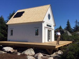Bo Bartlett with his newly constructed studio on Wheaton Island.