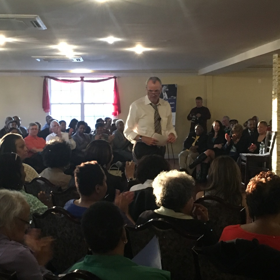 Phil Murphy campaigning last night at an Irvington town hall event.