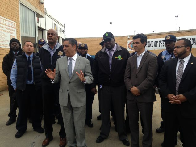 State Senator Adriano Espaillat accepts TWU endorsement alongside Councilman Ydanis Rodriguez and Assemblyman Victor Pichardo.