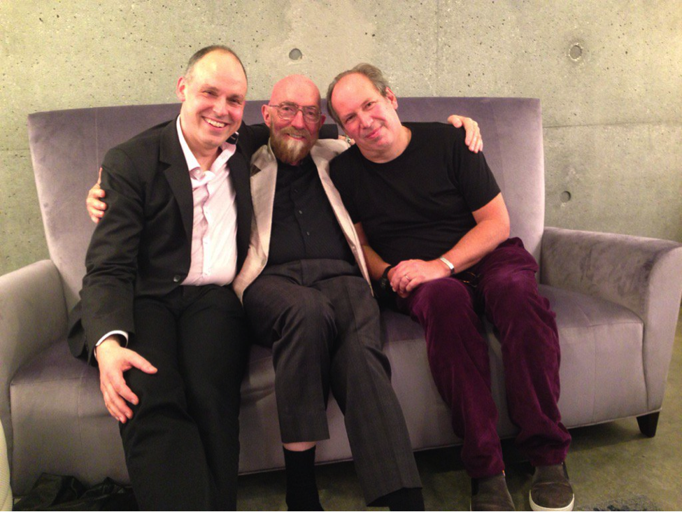 Paul Franklin, Kip Thorne, and Hans Zimmer backstage after Warped Side of the Universe.