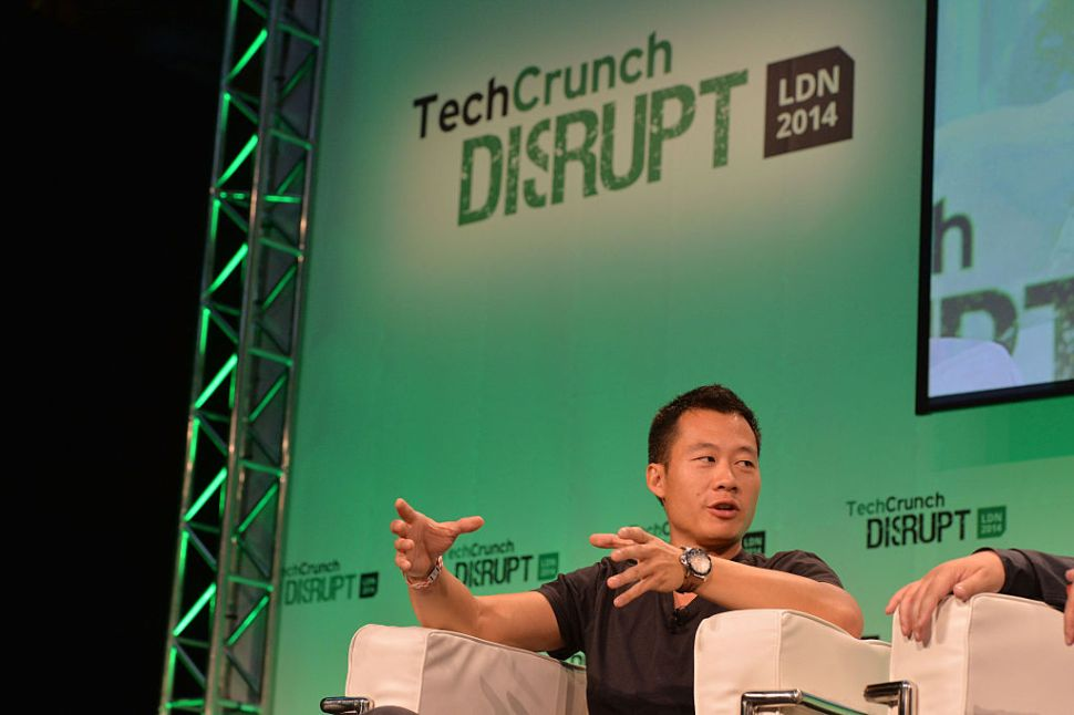 LONDON, ENGLAND - OCTOBER 20: Justin Kan, from Y Combinator, on stage during the 2014 TechCrunch Disrupt Europe/London at The Old Billingsgate on October 20, 2014 in London, England.