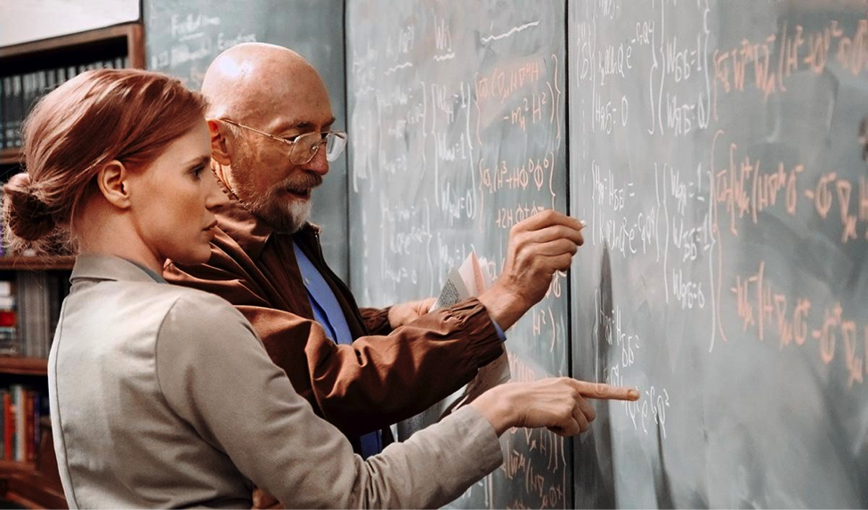 Theoretical Astrophysicist Kip Thorne working with Jessica Chastain on the set of Interstellar