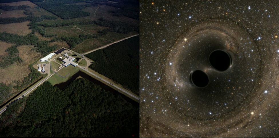 The LIGO laboratory in Livingston, Louisiana (left) was used to detect gravitational waves emitting from the collision of two black holes (illustrated right).