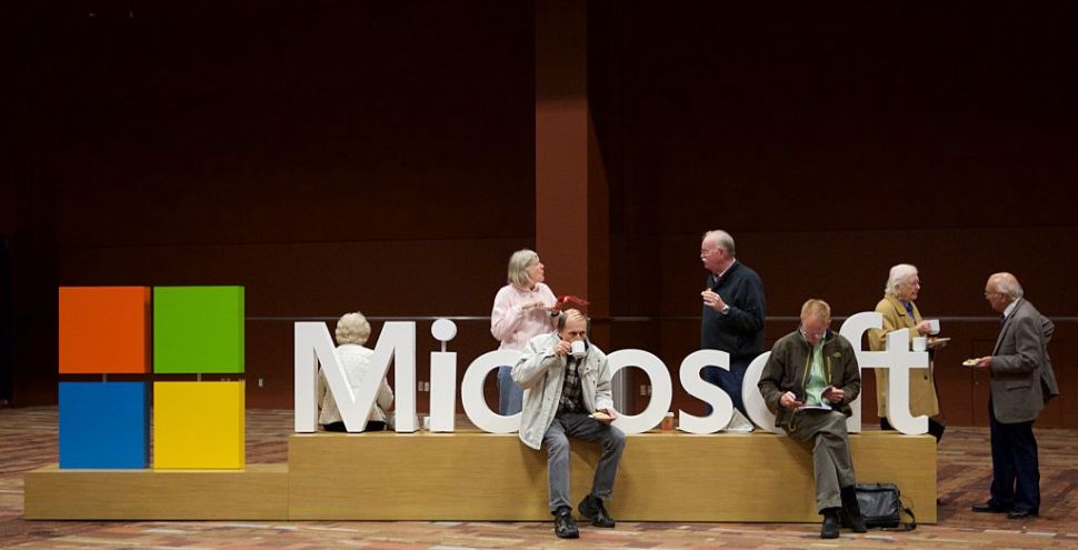 BELLEVUE, WA - DECEMBER 3: Microsoft shareholders wait for the annum Microsoft Shareholders Meeting December 3, 2014 in Bellevue, Washington. The meeting as first without Steve Ballmer as the company's CEO and the first without Bill Gates as the Chairman of the Board.