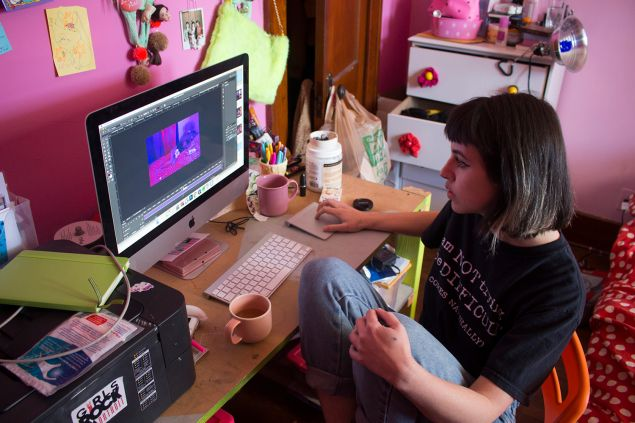 Molly Soda working at her home in Hamtramck, Michigan.